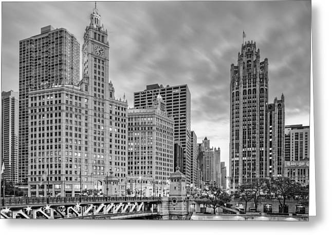 Monochrome Wrigley And Chicago Tribune Buildings - Michigan Avenue Dusable Bridge Chicago Illinois Greeting Card