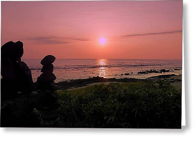 Greeting Card featuring the photograph Monoliths At Sunset by Lori Seaman