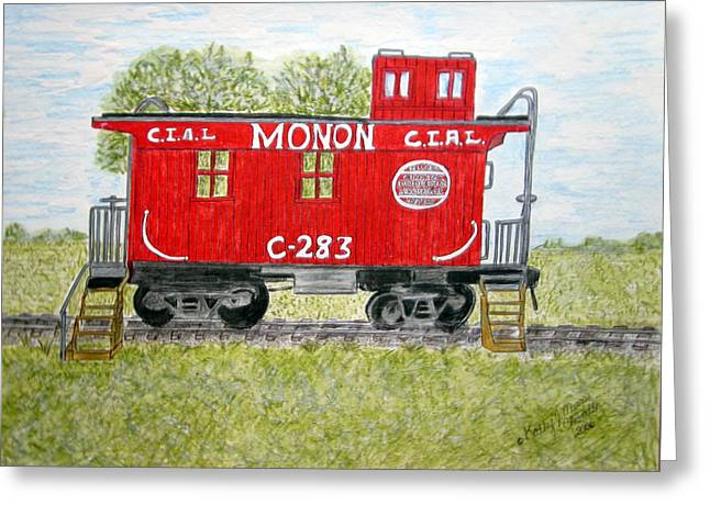 Greeting Card featuring the painting Monon Wood Caboose Train C 283 1950s by Kathy Marrs Chandler