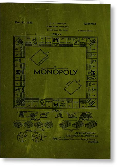 Monopoly Board Game Patent Drawing 1a Greeting Card