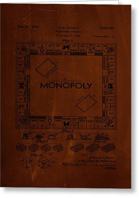 Monopoly Board Game Patent Drawing 1b Greeting Card