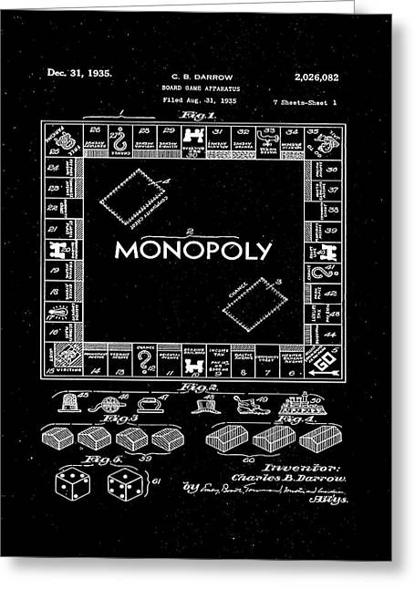 Monopoly Board Game Patent Drawing 1c Greeting Card