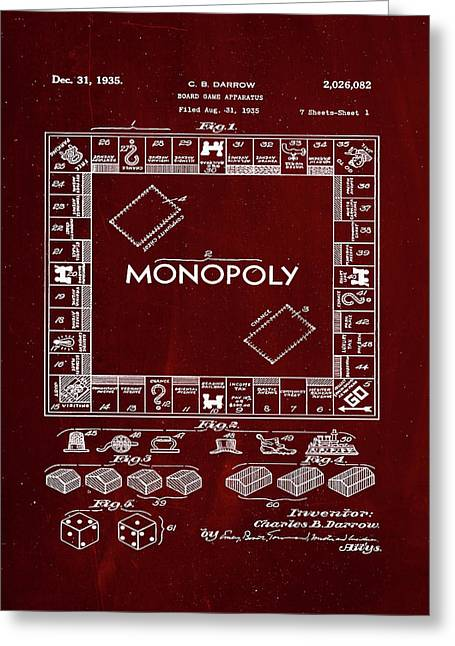 Monopoly Board Game Patent Drawing 1f Greeting Card