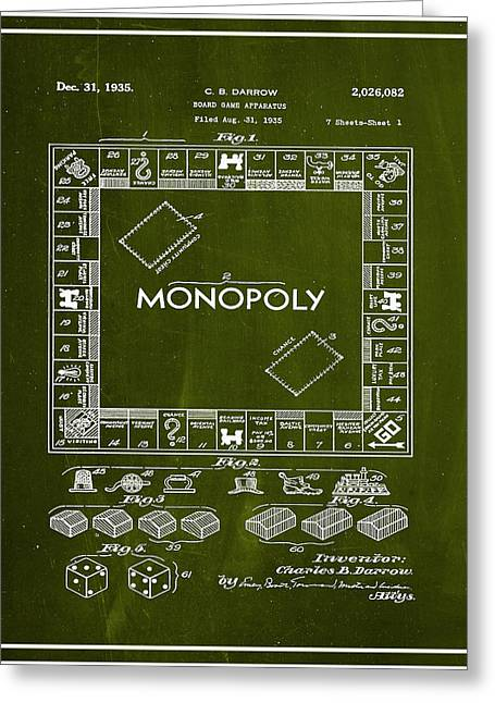 Monopoly Board Game Patent Drawing 1g Greeting Card