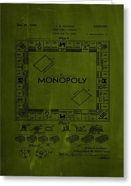 Monopoly Board Game Patent Drawing 1h Greeting Card
