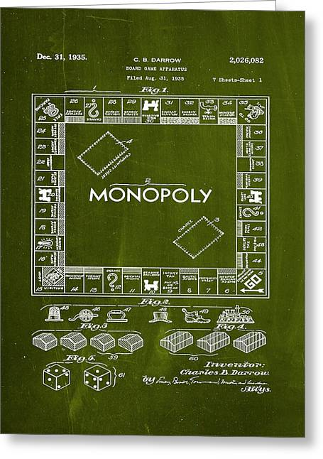 Monopoly Board Game Patent Drawing 1i Greeting Card