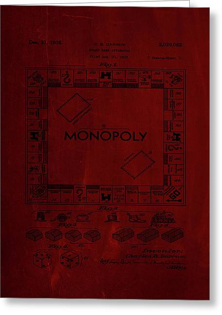 Monopoly Board Game Patent Drawing 1j Greeting Card