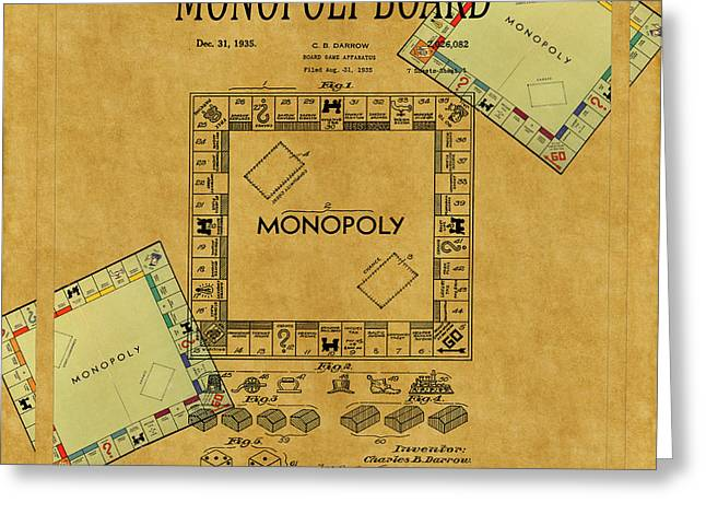Monopoly Patent 1935 Greeting Card by Andrew Fare