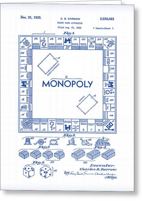 Monopoly Patent Drawing Greeting Card