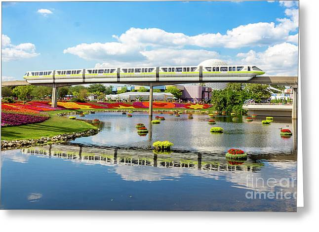 Monorail Cruise Over The Flower Garden. Greeting Card