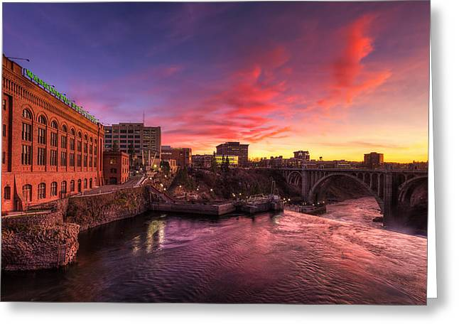 Monroe Bridge Sunset View Greeting Card