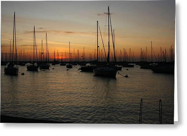 Monroe Harbor Sunrise Greeting Card by Gregory Jeffries