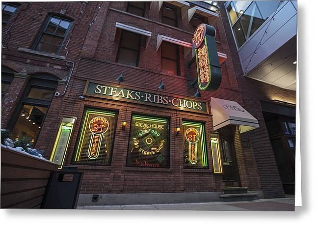 Greeting Card featuring the photograph Monroe St Steakhouse by Nicholas Grunas