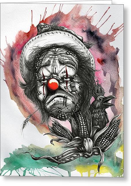 Monsanto's Sad Clown Corn Affair Greeting Card by Tai Taeoalii
