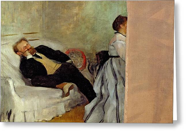 Family Love Greeting Cards - Monsieur and Madame Edouard Manet Greeting Card by Edgar Degas