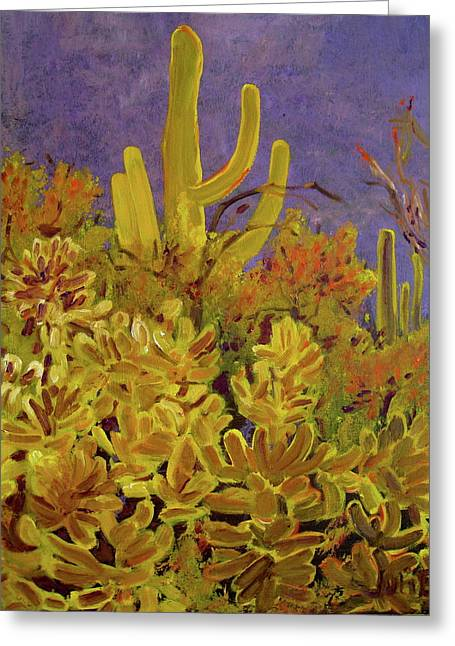 Greeting Card featuring the painting Monsoon Glow by Julie Todd-Cundiff