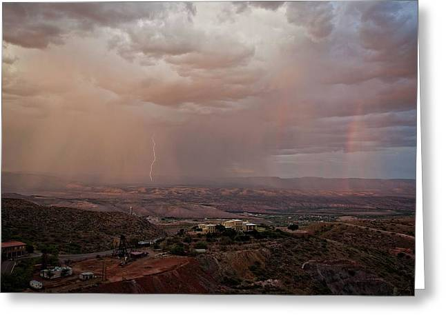 Greeting Card featuring the photograph Monsoon Lightning And Rainbow by Ron Chilston