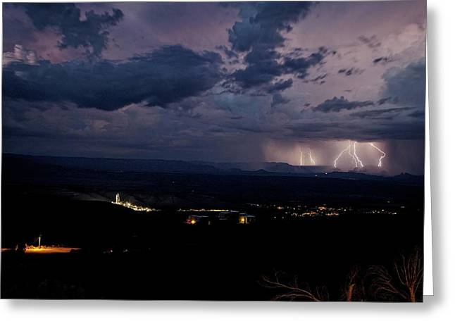 Greeting Card featuring the photograph Monsoon Lightning Over Sedona From Jerome Az by Ron Chilston