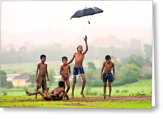Monsoon Mania Greeting Card by Pramod Bansode