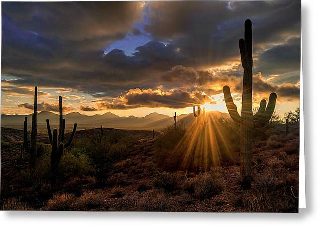 Greeting Card featuring the photograph Monsoon Sunburst by Anthony Citro