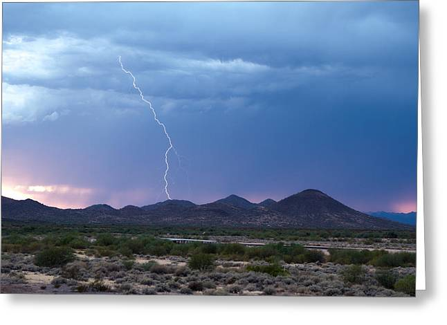 Monsoon Sunset Strike Greeting Card by Cathy Franklin