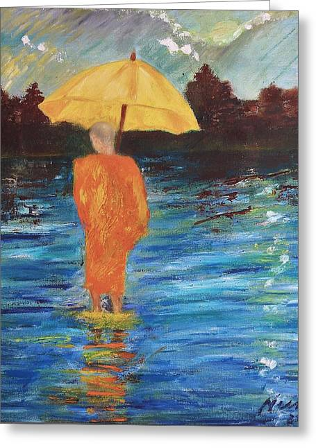 Monsoon Walk Greeting Card by Neena Alapatt