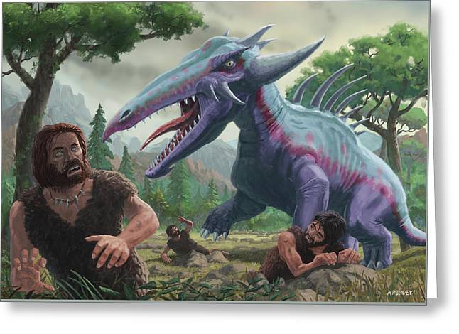 Greeting Card featuring the painting Monster Attacking Cavemen by Martin Davey