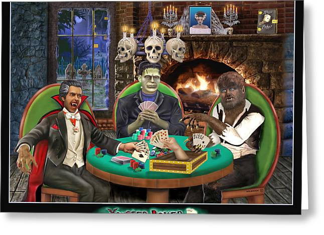 Monster Poker Greeting Card by Glenn Holbrook