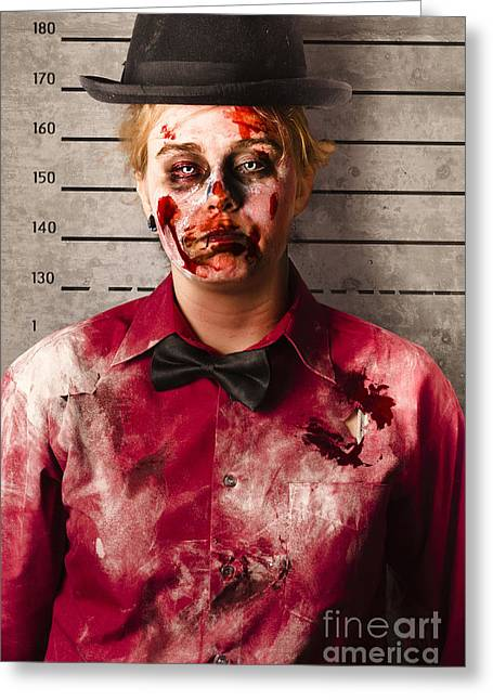 Monster Police Mug Shot. Creepy Criminal Greeting Card by Jorgo Photography - Wall Art Gallery
