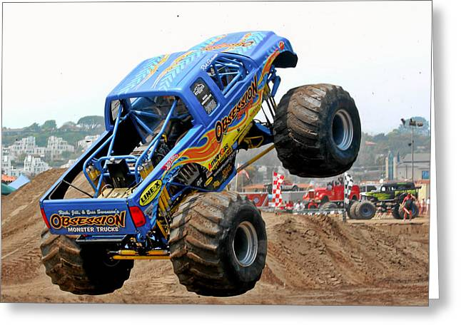 Danger Greeting Cards - Monster Trucks - Big Things Go Boom Greeting Card by Christine Till