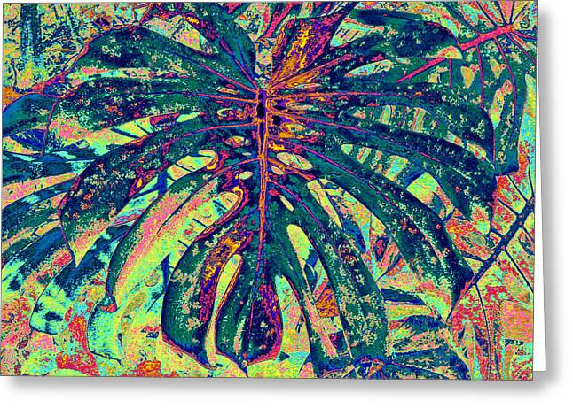 Greeting Card featuring the digital art Monstera Leaf Patterns - Square by Kerri Ligatich
