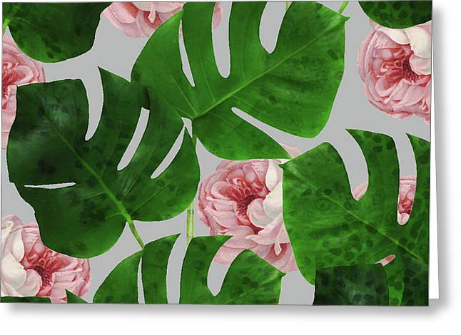 Monstera Rose Pattern Greeting Card
