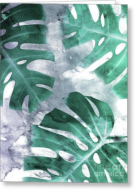 Monstera Theme 1 Greeting Card by Emanuela Carratoni