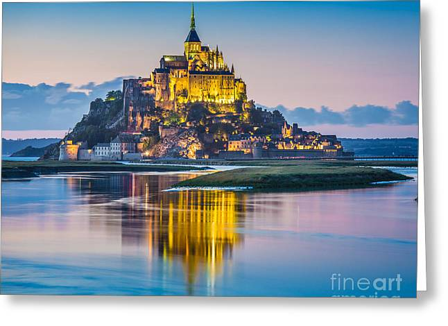 Mont Saint-michel In Twilight Greeting Card by JR Photography