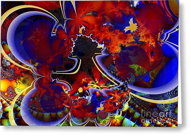 Montage In Reds And Blues Greeting Card by Ron Bissett