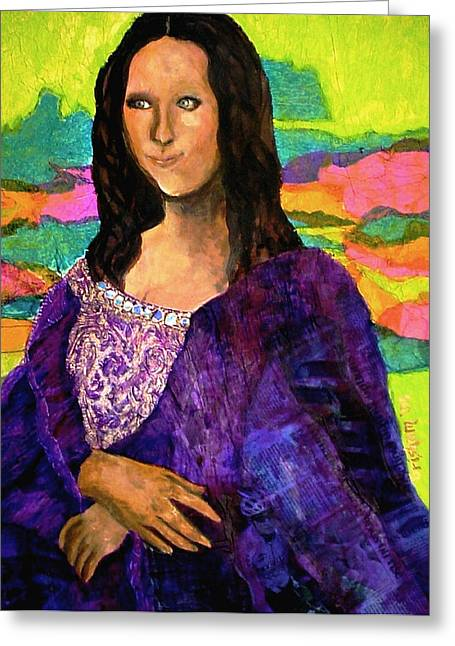 Greeting Card featuring the painting Montage Mona Lisa by Laura  Grisham
