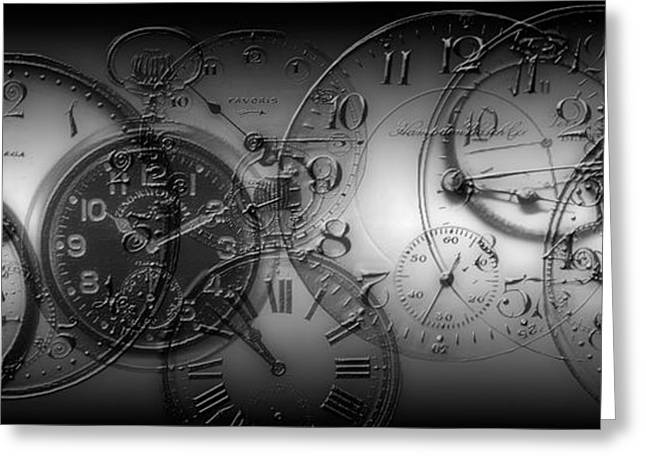 Montage Of Old Pocket Watches Greeting Card by Panoramic Images