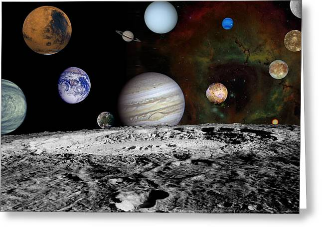 Montage Of The Planets And Jupiters Nasa Greeting Card by Artistic Panda