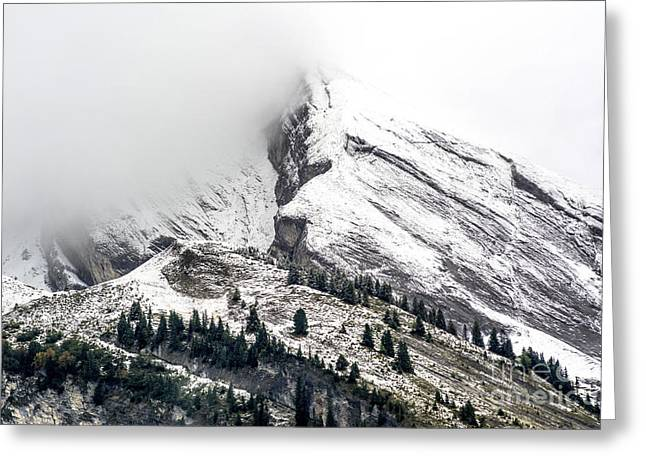 Montain Range Snow Covered Greeting Card by Bernard Jaubert