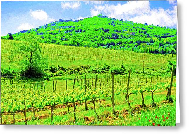 Montalcino Above A Vineyard Greeting Card by Dennis Cox WorlViews