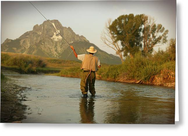 Montana Fly Fishing Greeting Card by Guy Crittenden