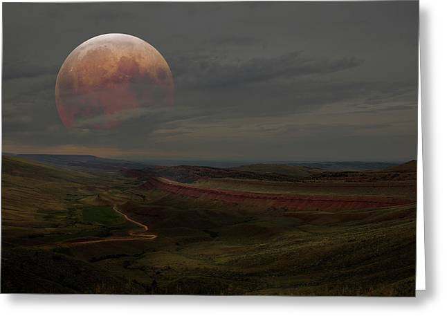 Montana Landscape On Blood Moon Greeting Card