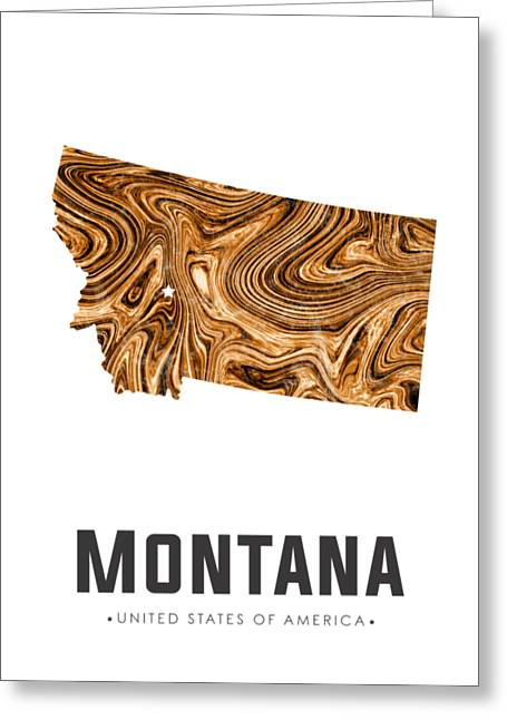 Montana Map Art Abstract In Brown Greeting Card