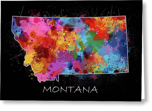 Montana Map Color Splatter 2 Greeting Card