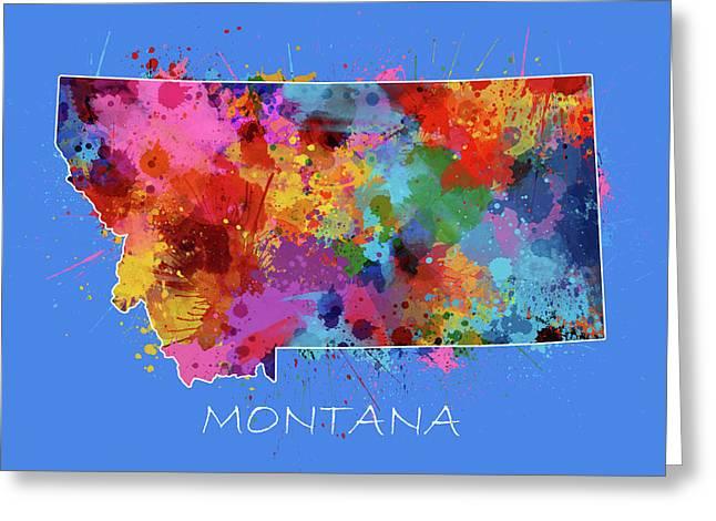Montana Map Color Splatter 3 Greeting Card