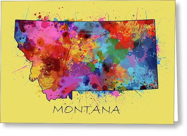 Montana Map Color Splatter 4 Greeting Card