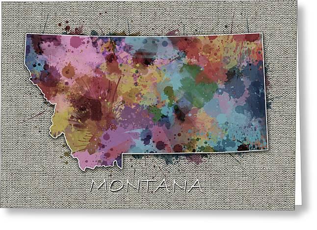 Montana Map Color Splatter 5 Greeting Card