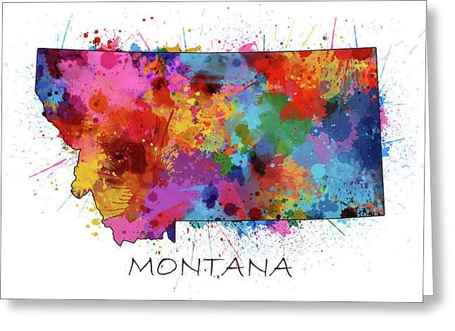 Montana Map Color Splatter Greeting Card