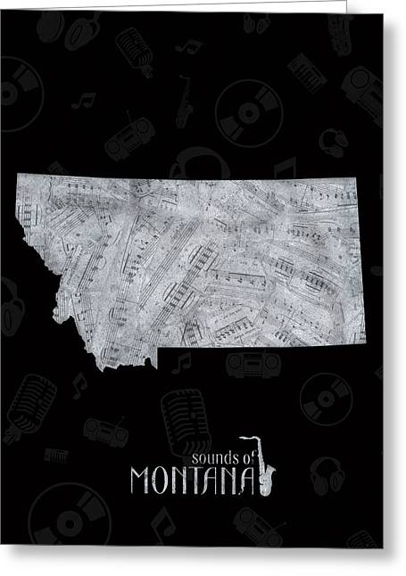 Montana Map Music Notes 2 Greeting Card