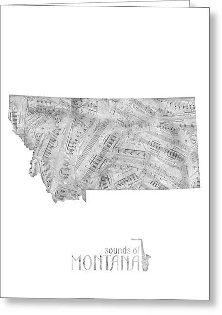 Montana Map Music Notes Greeting Card